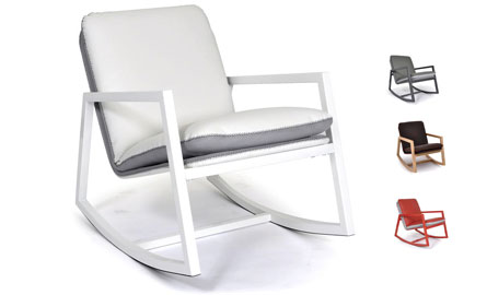 fauteuil rockingchair tissu blanc et gris pas cher. Black Bedroom Furniture Sets. Home Design Ideas