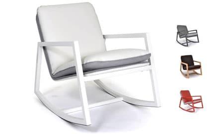 Fauteuil rockingchair tissu blanc et gris pas cher 2