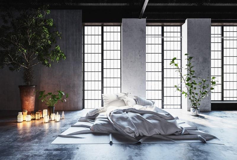 Dormis avec un matelas sur sol